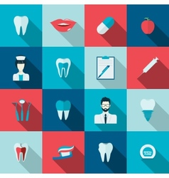 Teeth icons flat vector
