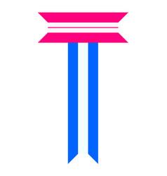 Trendy alphabet letter folded from paper tape vector