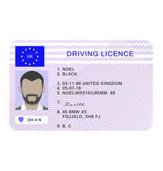 Uk driver license id card cartoon style vector