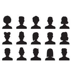 users silhouette icons male and female head vector image