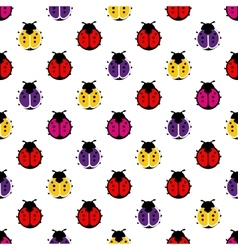 Variegated ladybugs on white background seamless vector image