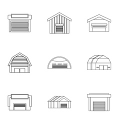 Warehouse icons set outline style vector