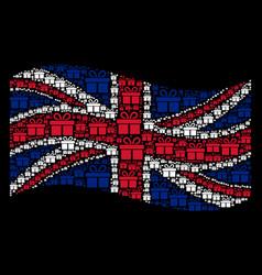 Waving united kingdom flag mosaic of gift icons vector