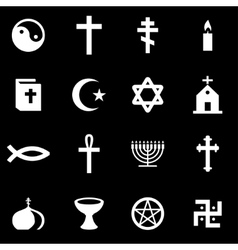 White religion icon set vector
