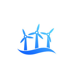 Wind turbines offshore farm icon vector