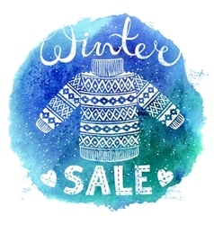 Winter Special banner label with knitted woolen vector