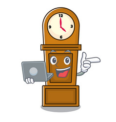 With laptop grandfather clock character cartoon vector