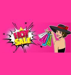 woman hat pop art season sale bag vector image