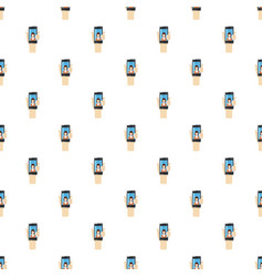 Womanl taking selfie photo on smartphone pattern vector