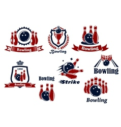 Bowling logo icons vector image vector image