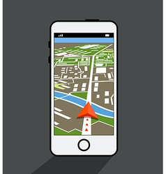 Modern smartphone with navigation application vector image vector image