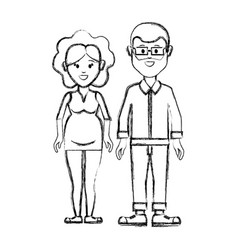 silhouette couple man with glasses and woman vector image