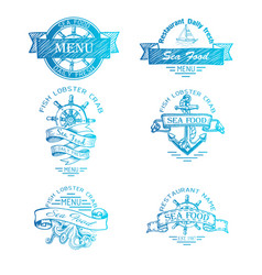 sketch - logo for a seafood vector image
