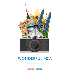 wonderful asia poster with famous attractions vector image vector image