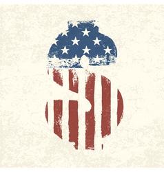 american flag dollar shaped vector image
