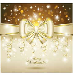 greeting card with white bow vector image vector image