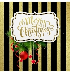 Merry christmas label with gold lettering vector image vector image