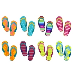 Set of eight different colors of beach slippers vector