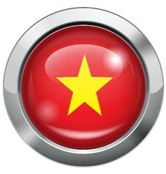 Vietnam flag metal button vector image vector image