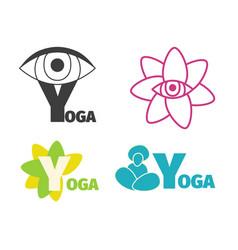 Yoga logo design template with eye man silhouette vector