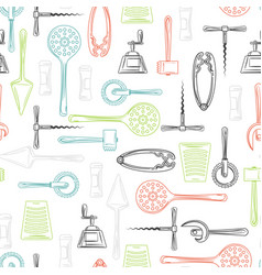 kitchen utensils color seamless pattern vector image vector image