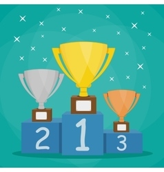 Trophy Cup on blue prize podium vector image