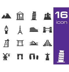 black landmarks icons set vector image vector image