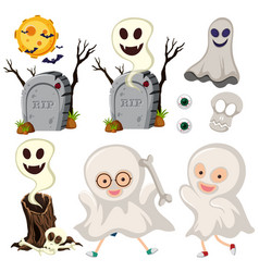 Ghosts and gravestones on white background vector
