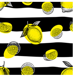 striped seamless pattern with lemons vector image