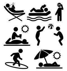 Summer pictograms flat people icons isolated on vector image vector image