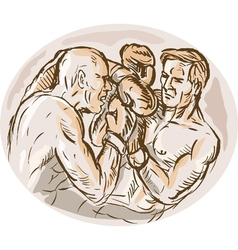 two male boxers throwing punches vector image