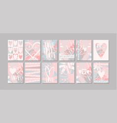 a set modern minimalist postcards about love vector image