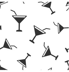 alcohol cocktail icon seamless pattern background vector image
