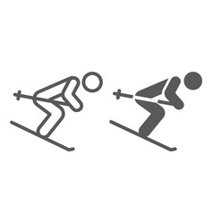 Alpine skiing line and glyph icon sport and vector