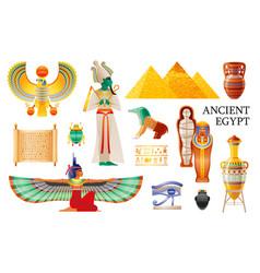 Ancient egypt icon set pharaoh osiris isis queen vector