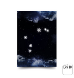 aries constellation of snowflakes zodiac sign vector image