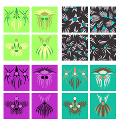 Assembly of patterns in oriental style vector