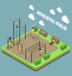 athletic field isometric composition vector image