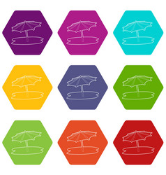 beach umbrella icons set 9 vector image