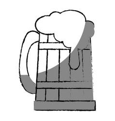 Beer in wooden jar vector