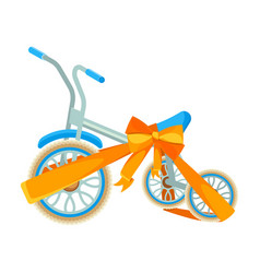 blue bicycle in decorative wrapping ribbon with vector image