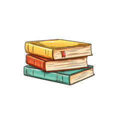 books in hardcover stack textbooks isolated vector image