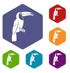 Brazilian toucan icons set hexagon vector