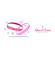 breast cancer care pink charity bracelet banner vector image