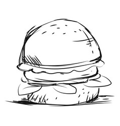 Burger drawing on white background vector