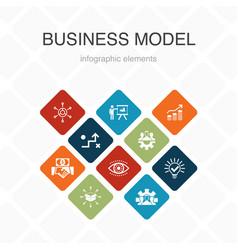 Business model infographic 10 option color design vector
