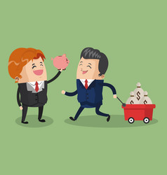 Business teamwork with savings on cart vector