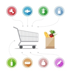 Buying food icons vector