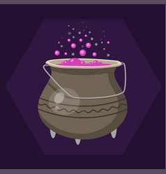 Cartoon halloween witches cauldron with pink vector