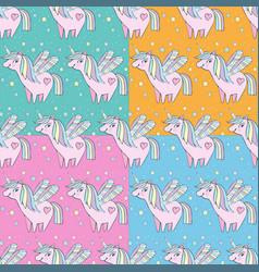 children s seamless pattern set cute little pink vector image